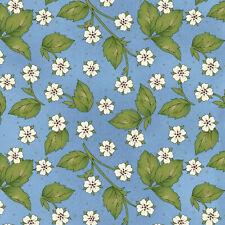 Maywood Studio From Farm Blue Strawberry Blossom BTY MAS8289-B fabric