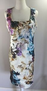 Moss & Spy - Purple / Blue - Floral Dress - Size 14 - Preowned VGC
