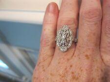 dVtg Estate Antique Art Deco Ring White Gold Sterling Absolute CZ Engagement