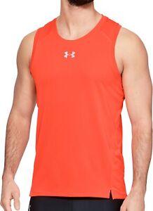 Under Armour Qualifier Mens Running Vest Red Fitted Ultralight Run Singlet