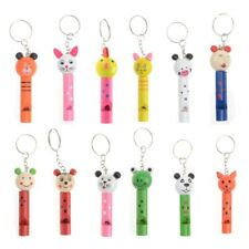 1 pc Kids Musical Toy Wooden Cartoon Whistle Key Chain Phone Strap Bag Pendants
