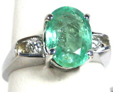 Emerald Ring 18K White gold Colombian 3 stone Heirloom Natural 2.61Ct