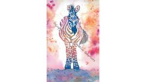 Zebra Original Watercolour Print Pen and Wash Illustration Wall Art Work Picture