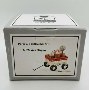 Midwest of Cannon Falls LITTLE RED WAGON w/Trinket-NHGC Hinged Trinket Box VTG
