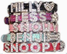 XS Croc Personalised Pet Dog Cat Collar Rhinestone Name Bling Charms PU Leather