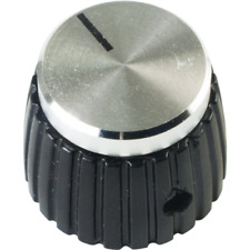 Marshall Style Knob with Set Screw, Black and Silver