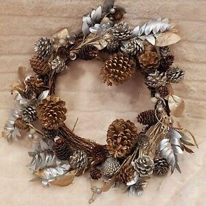 "Handmade 15"" Christmas Wreath For The Holidays Pine Cones"