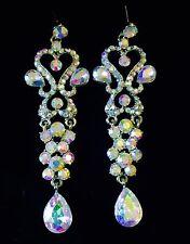 EARRING using Swarovski Crystal Dangle Drop Wedding Bridal Fancy Silver AB Long