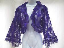 vtg lingerie purple lace bed jacket crop wrap bolero long sleeve ruffle L New