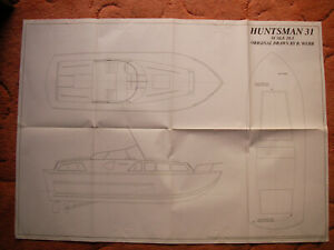 """Model Boat Plans of the Huntsman 31 a 1:20 scale vintage powerboat 19"""" LOA beam"""