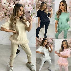 Womens Ladies Tutu Hem Frill Hem Ruffle Puff Sleeve Loungewear New Tracksuit Set
