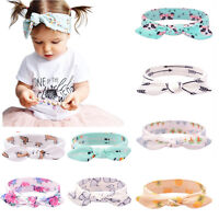 Fashion Baby Kids Flower Headband Knot Bow Turban Rabbit Ear Hair band Headwear