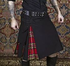 Deluxe Hybrid  Prime Active Fashion Black & Royal Stewart Men Kilt