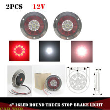 "2x 4"" Round 16LED Truck Trailer Lorry Brake Stop Turn Tail Light Chrome Ring 12V"
