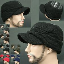 Cadet Box HOI BLACK Visor Beanie Russian Skull Knit Cap Hat Ear wamer EarFlap