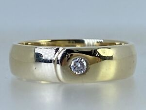 Diamond Solitaire Ring 9ct Yellow Gold Cross Over Belt Ring Size L 3.3g 4.7mm
