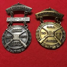 National Rifle Association, Nra, Marksmanship Badges, Grouping Of 2, Pinbacks