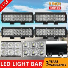 4x 9INCH CREE LED DRIVING WORK LIGHT BAR OFFROAD FLOOD SPOT AUTO UTE LENS LAMP