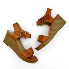 New listing Tucker + Tate Platform Wedge Sandal Brown Vegan Leather Girls Sz 3 Buckle Strap
