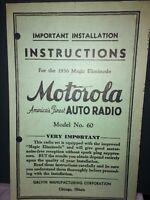 Motorola Installation Instructions For The 1936 Magic Eliminode #60