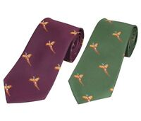FLYING PHEASANT MOTIF PATTERN HUNTING GAME SHOOTING COUNTRY NECKTIE NECK TIE