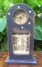 """Country Decor Folk Art Wood Wall/Mantle Clock Stars and Stripes Forever 16"""" Tall"""