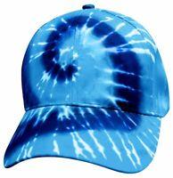 Tye Tie Dye Blue Denim Hippy 70s Groovy Ball Cap 70s Strap Adjustable HIp Hop