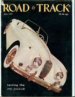 June 1955 Road & Track Magazine - Jaguar XK120- Chrysler 300 - DKW - Geneva Show