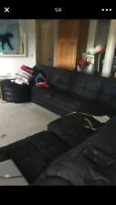 Black Sectional Couch With Recliner And Pull Out Queen Bed 15 Ft Long