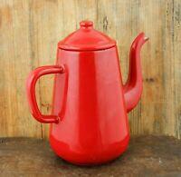 Vintage Dutch COFFEE POT Enamelware Red Enamel Tea pot kettle