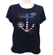 Laura Scott 1X Tee Shirt Navy Blue Anchor American Stretch Short Sl Top USA