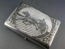 Russian 84 Silver Cigarette Case Niello w/ Horse & Cart scene - decorative