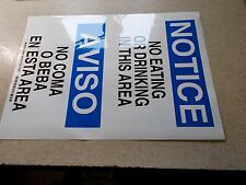 """NEW Brady 90668 Multilingual safety Sign """"NO Eating or drinking *FREE SHIPPING*"""