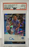 2020 Panini Prizm /75 Cole Anthony Auto Blue Ice Psa 10 GEM MINT 💎