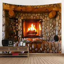 KQ_ Wall Fireplace Flames Tapestry Wall Hanging Decor for Bedroom Living Room Do