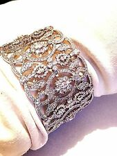 Vintage Style Real Crystal 925 Sterling Silver Filigree Cuff Bangle Bracelet