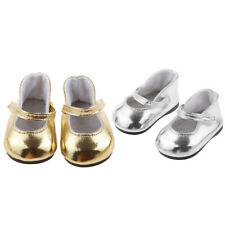 Gold + Silver Doll Shoes For AG American Doll 18 Inch Doll Casual Wear Accs