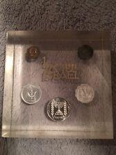 Vintage Israel Hebrew Coins Lucite Paperweight