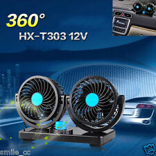 360° All-Round Dual Head Car Cooling Fan 2 Speed Adjustable Quiet Cooler 5 Pin