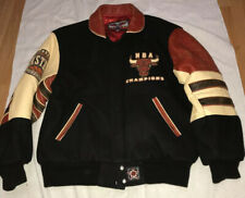 VTG CHICAGO BULLS EAST. CONFERENCE LETTERMAN WOOL LEATHER JACKET JEFF HAMILTON