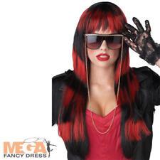 Untamed Black & Red Wig Ladies Devil Fancy Dress Halloween Costume Accessory