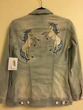 BNWT LuLaRoe Jaxon XXS Unicorn Embroidery Denim Jacket