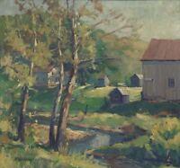 Original Signed Roy Wilhelm Large Oil Ohio Landscape Impressionism Painting