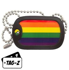 Military Dog Tag Necklace -  GAY PRIDE FLAG with a Dog Tag Silencer