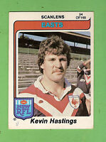 1980  EASTERN SUBURBS ROOSTERS  SCANLENS RUGBY LEAGUE  CARD #34  KEVIN HASTINGS