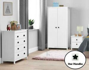Kids Bedroom Furniture Trio Set Wardrobe Drawers Bedside Nightstand Nursery Baby