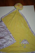 Baby Ganz Yellow  Duck Security Blanket Satin Purple Dots umbrella lovey (T)
