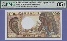 Chad-Republic,5000 Francs Banknote,(1984-91) Gem Uncirculated Grade-65-PMG,CA#11