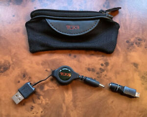 Tumi Retractable Micro USB In Black Mesh Pouch with Leather Trim