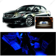 For Honda Accord 2003-2012 Blue LED Interior Kit + Xenon White License Light LED